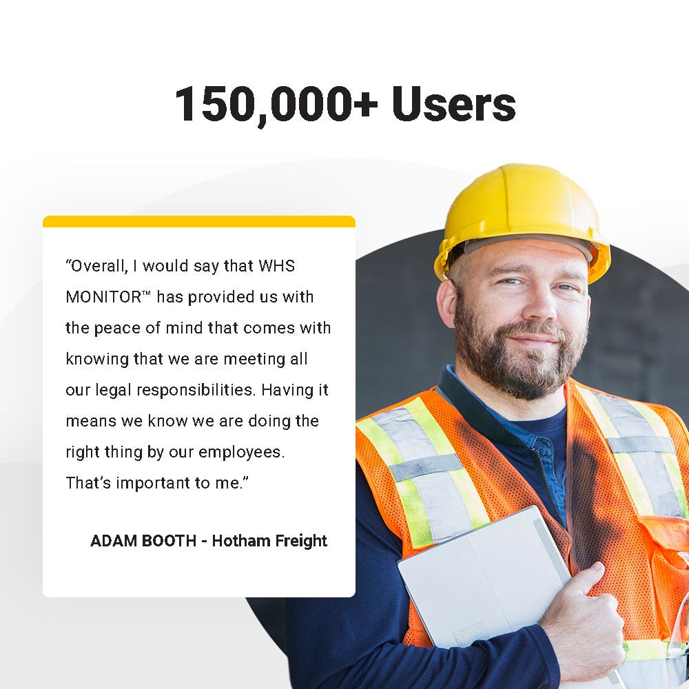 WHS Monitor Software - WHS Monitor has over 150,000+ active users including management, workers, contractors and more. With WHS Monitor you can create individual dashboards and visibility for each level of your business creating 3 lines of safety defence.