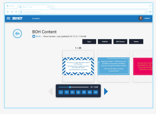 Managing content is made easier via intuitive tools for organizing and arranging screen content and timing each transition
