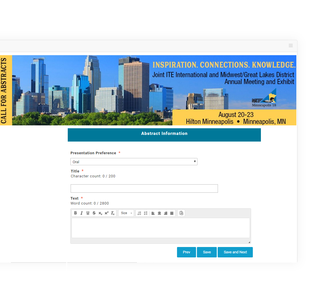 The abstract submission site helps manage judges and reviewers across multiple rounds, as well as organize papers and announce accepted ideas