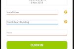 BizRun screenshot: The timekeeping interface allows employees to track their time