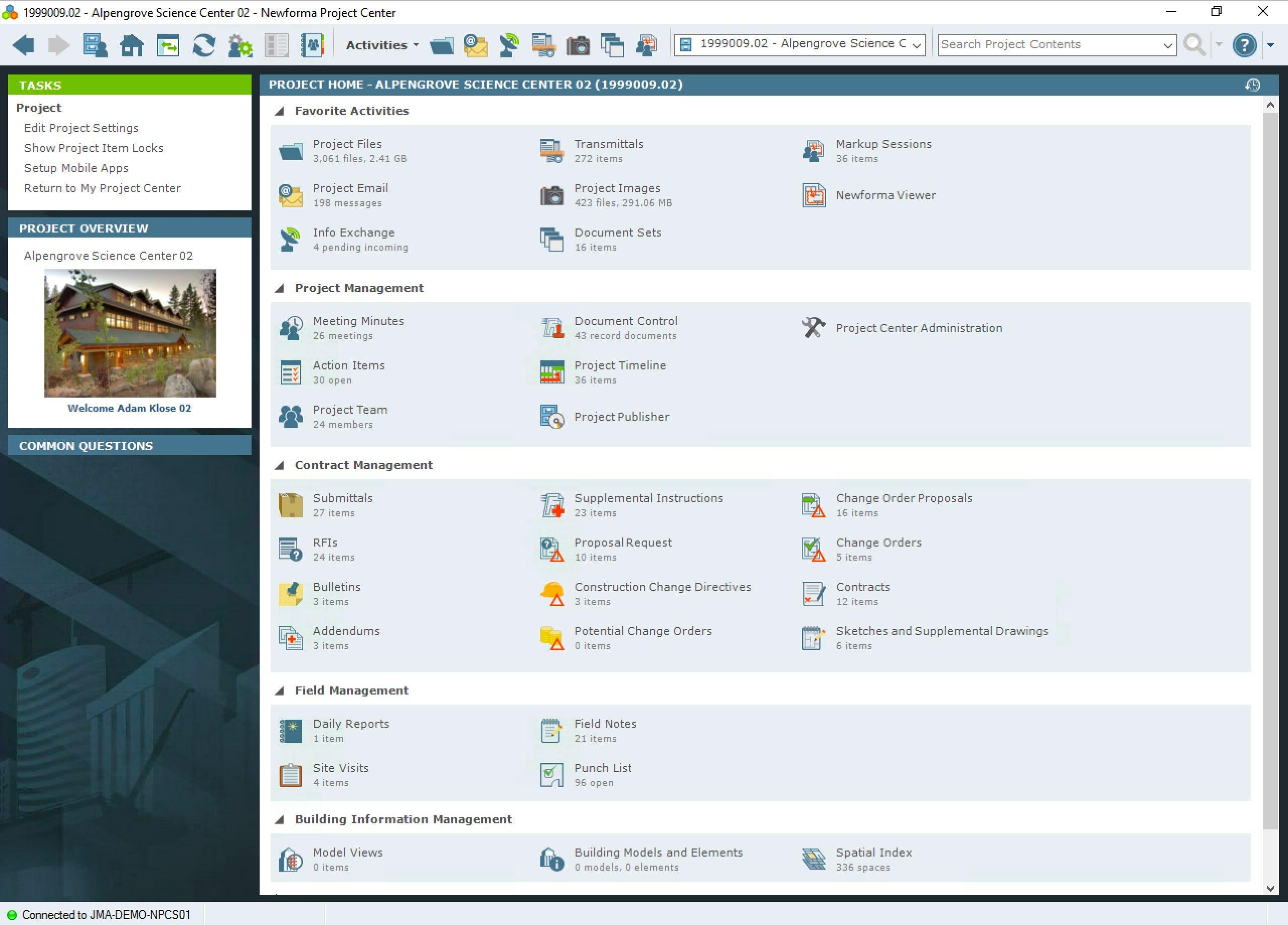 ConstructEx Software - Project home screen