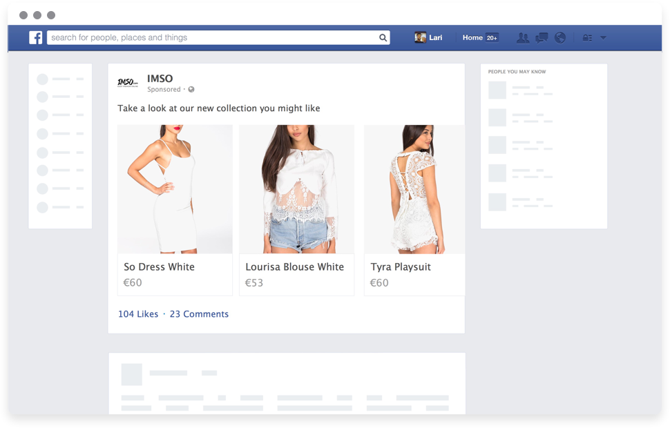 Nosto works with Facebook to recover shopping carts.