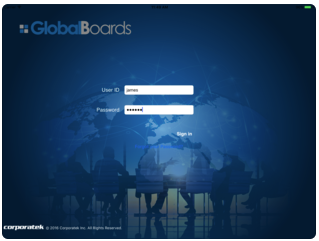 GlobalBoards screenshot: Sign in securely with user ID and password