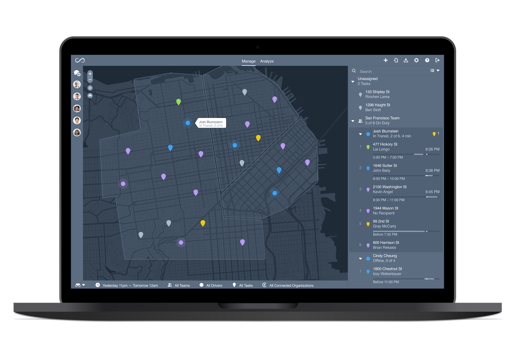 Map dashboards display customizable overlays and location markers, denoting service zones, routes and driver locations. Gain real-time, complete visibility over your operations.