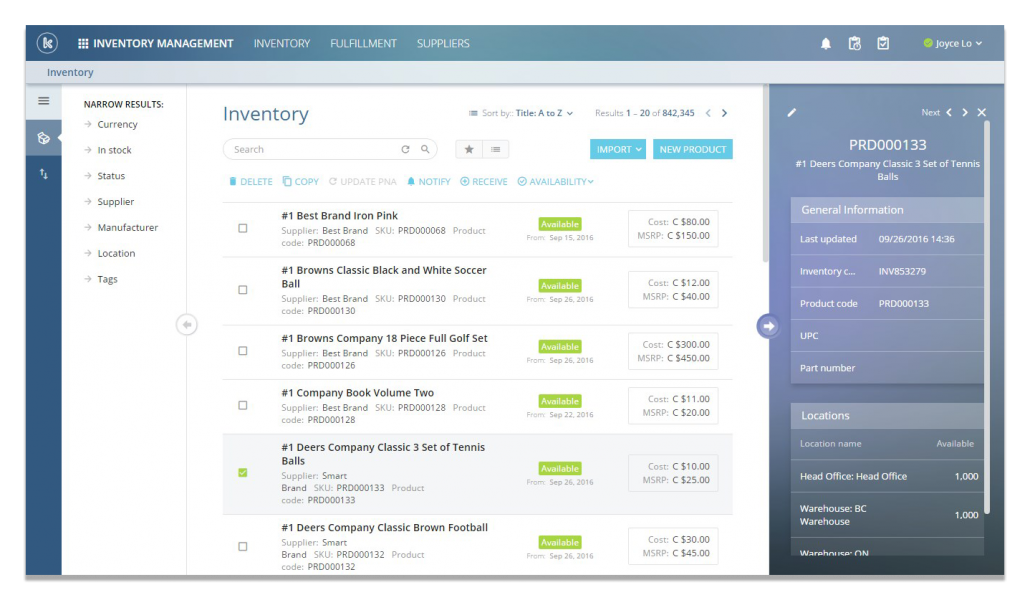 Users can manage inventory across multiple locations in Kloudville