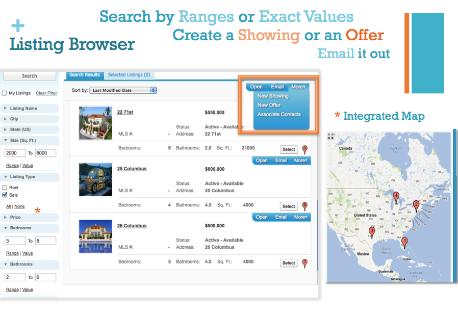 REthink Real Estate CRM Software - Use Listing Browser to Create an Offer and Email it out