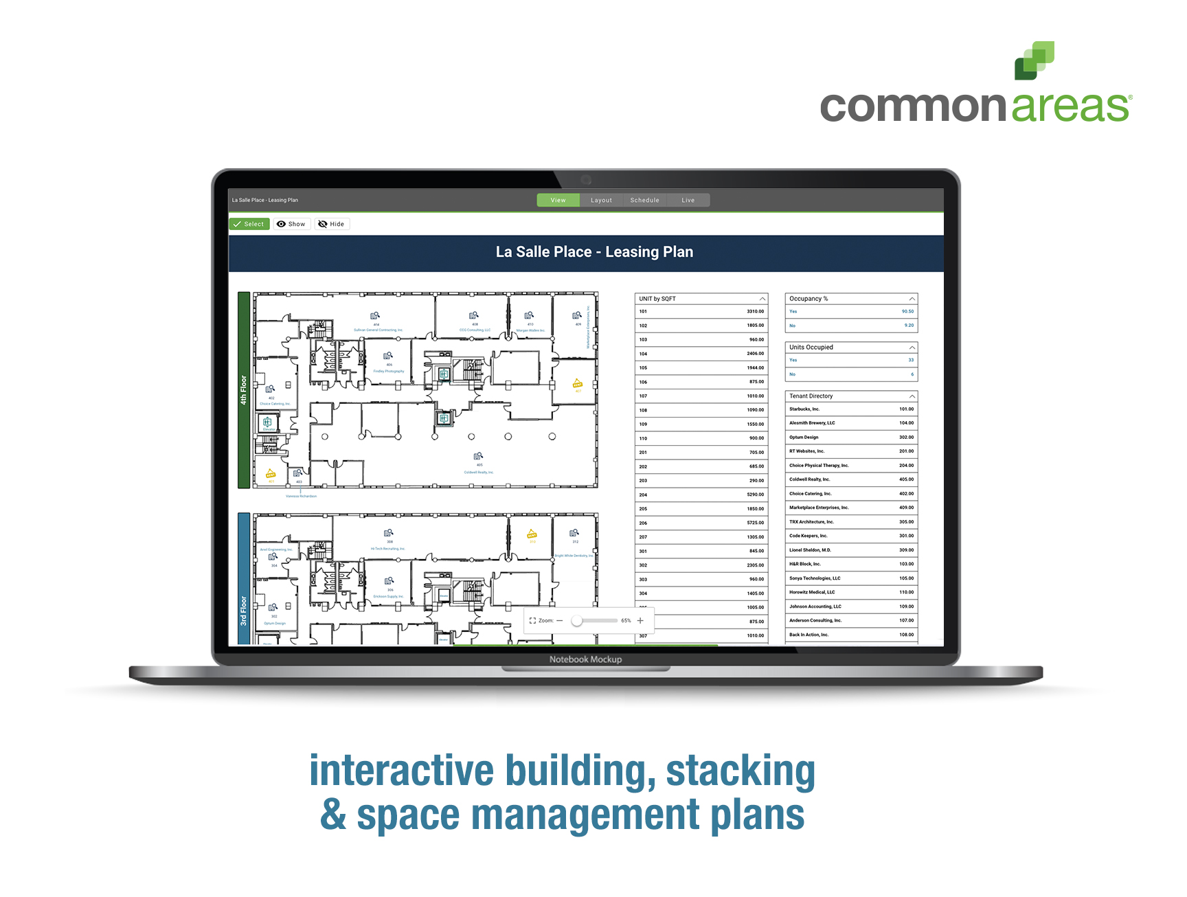 Visualize and interact with your plans more effectively. Using data collected during design and construction, tenant leasing, vendor management, and routine site visits, easily plot everyone and everything on a set of interactive plans.