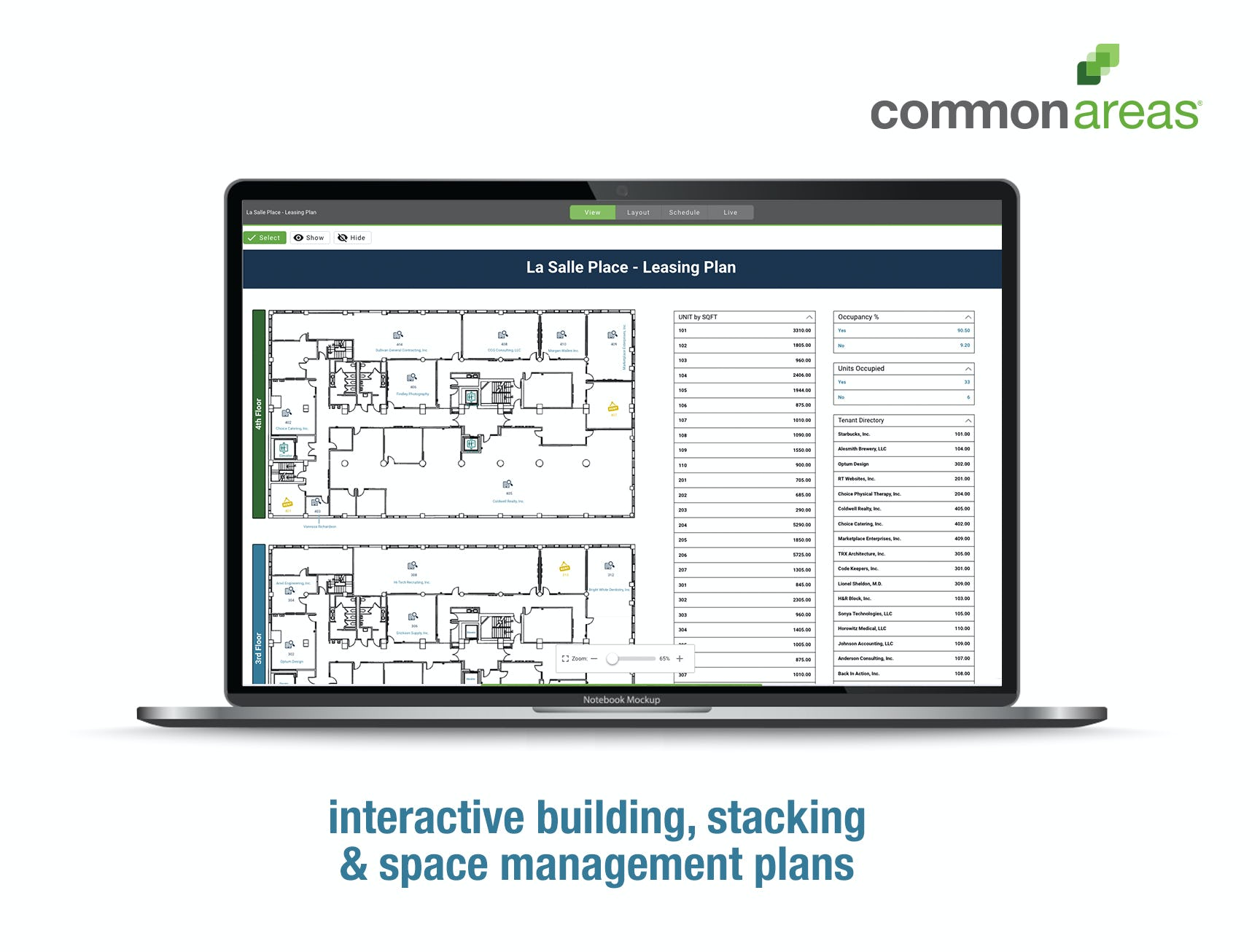 Common Areas Software - Visualize and interact with your plans more effectively. Using data collected during design and construction, tenant leasing, vendor management, and routine site visits, easily plot everyone and everything on a set of interactive plans.