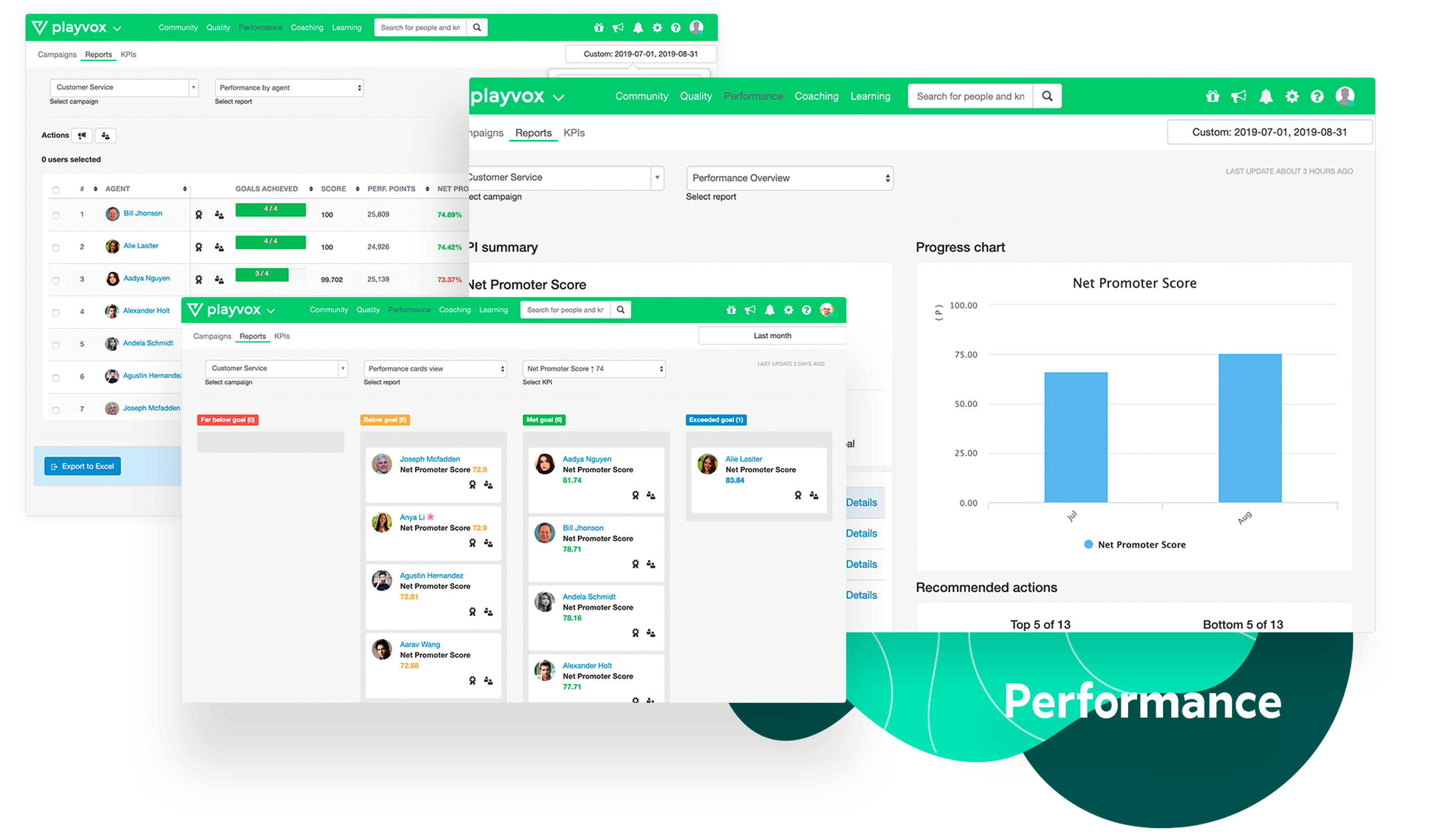 Solve issues on the spot with all your KPIs in one place. Playvox gives you all the information you need in real-time. Connect and consolidate all your customer service KPIs. Always have your NPS, CSAT, AHT, and others, at your fingertips.