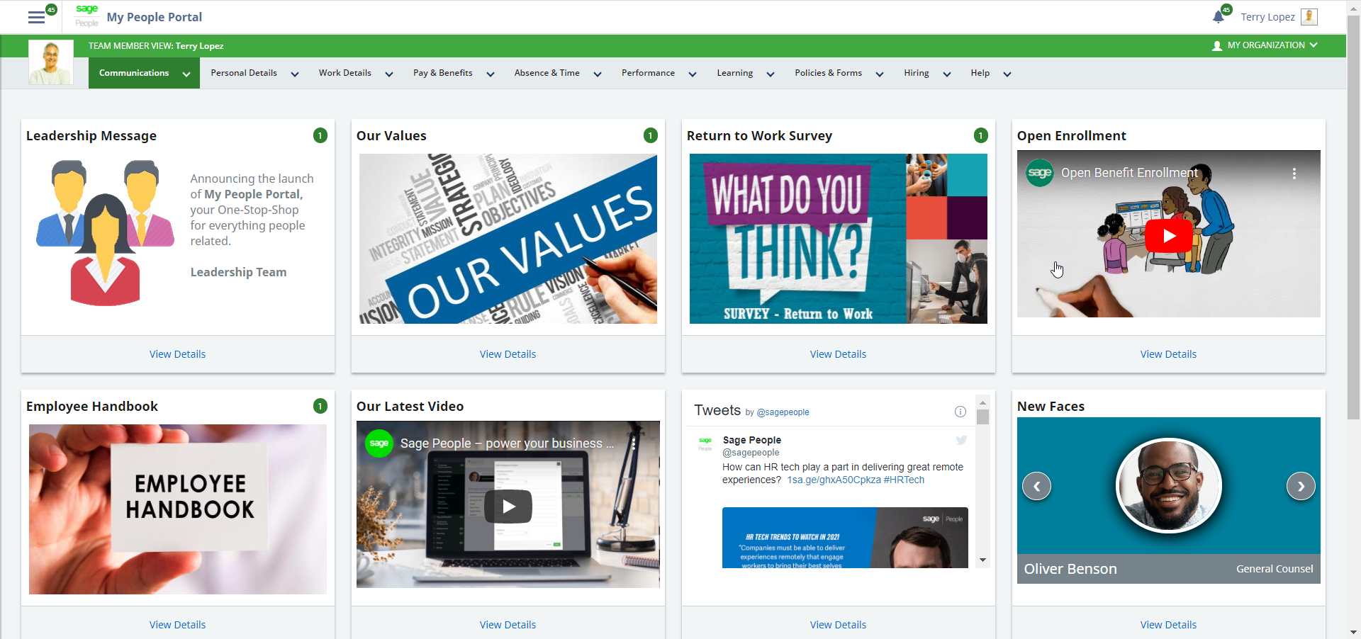 Sage People screenshot: My People Portal Homepage: Provide employees with an engaging and intuitive self-serve experience where they can access personalized company communications, important personal and pay information and book time off anytime, anywhere.
