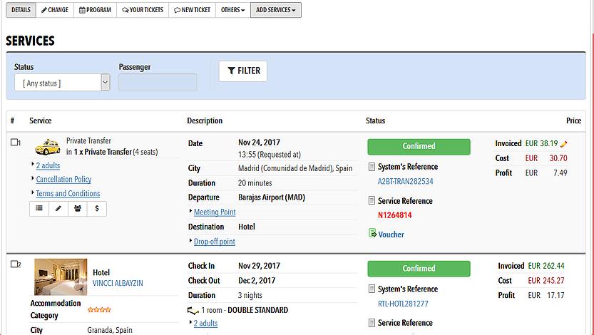 Adalte Travel Platform shopping cart screenshot