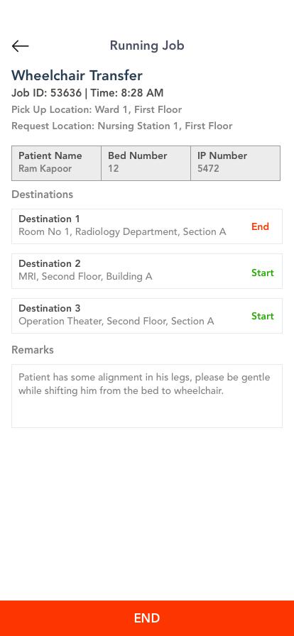 Porter App - New Job Start Screen