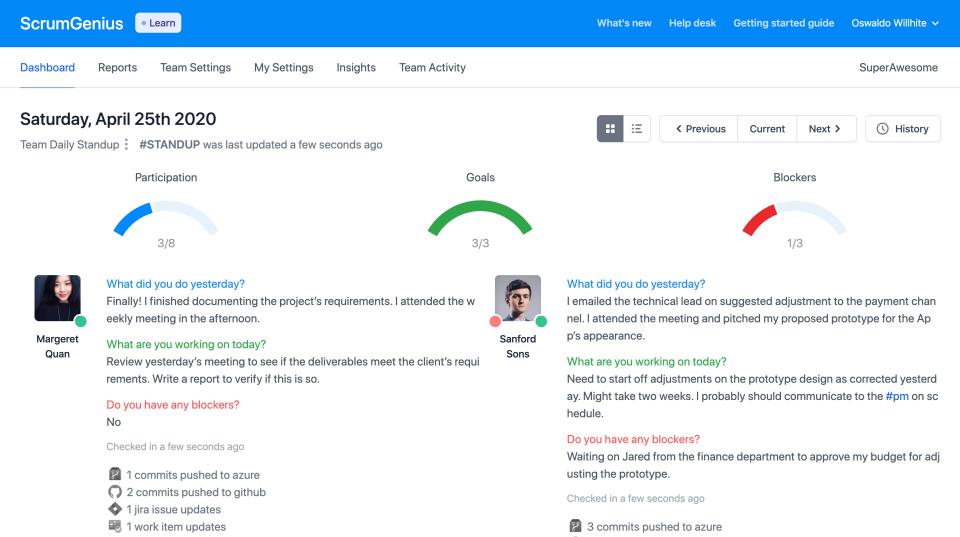 ScrumGenius Software - Reporting dashboard