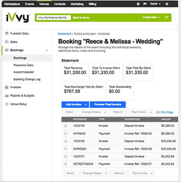 iVvy Venues booking management screenshot