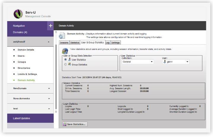 Serv-U FTP Server Software - View domain activity