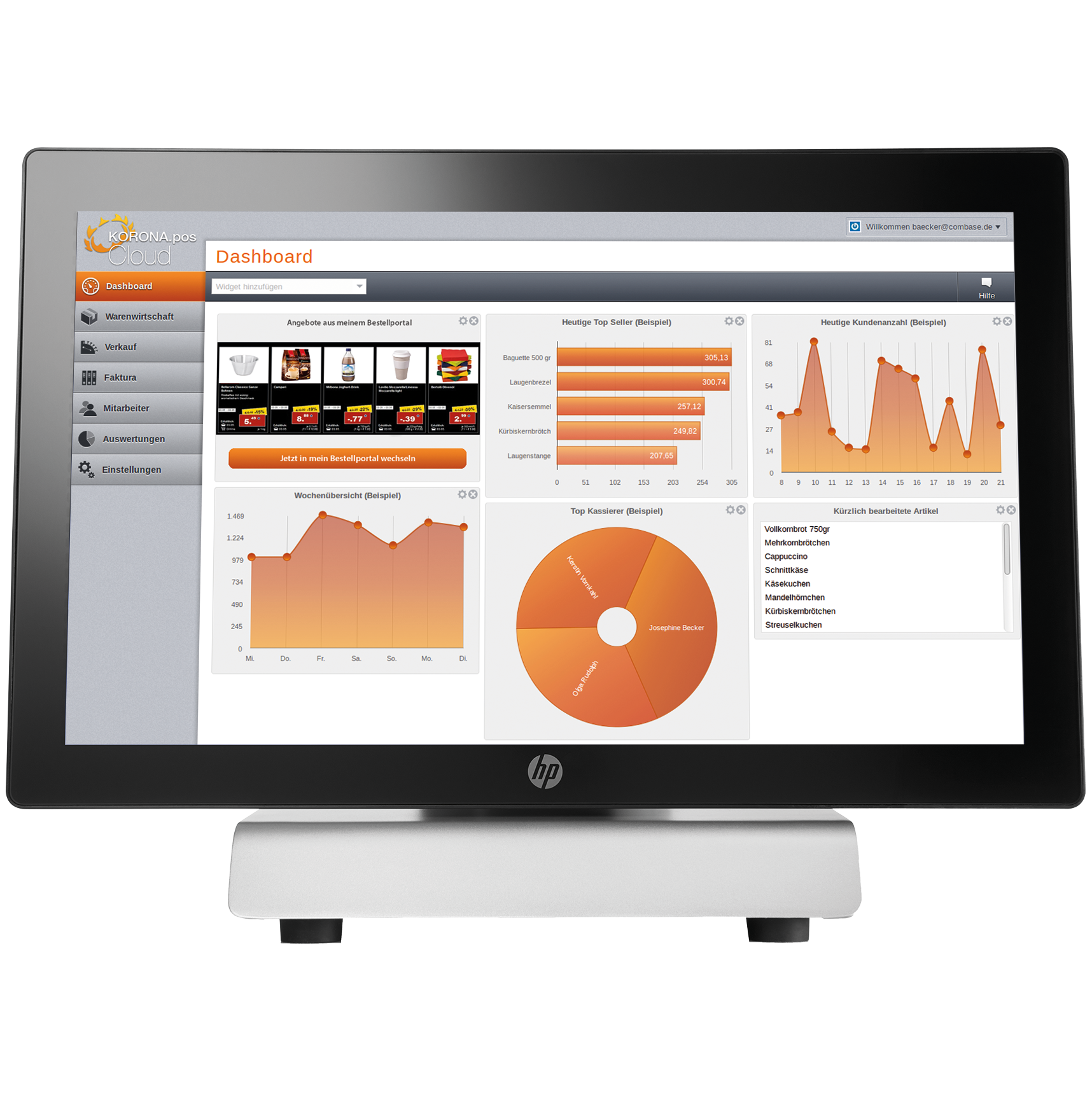 KORONA's backend database features detailed sales reports, product analysis, KPIs, inventory management, and other metrics. Everything is calculated automatically with graphs and charts to help break down the data.