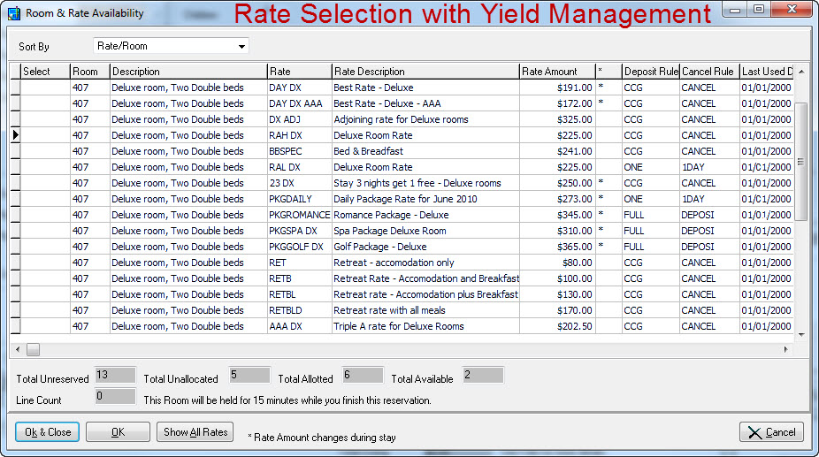 Rate selection with yield management