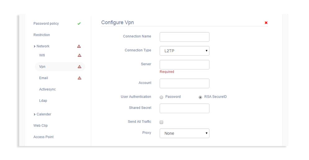 Hexnode VPN configuration