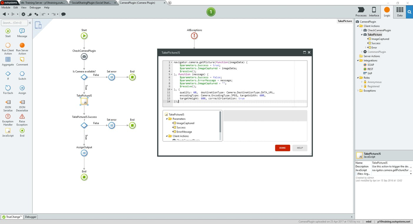 OutSystems screenshot: OutSystems Development Environment