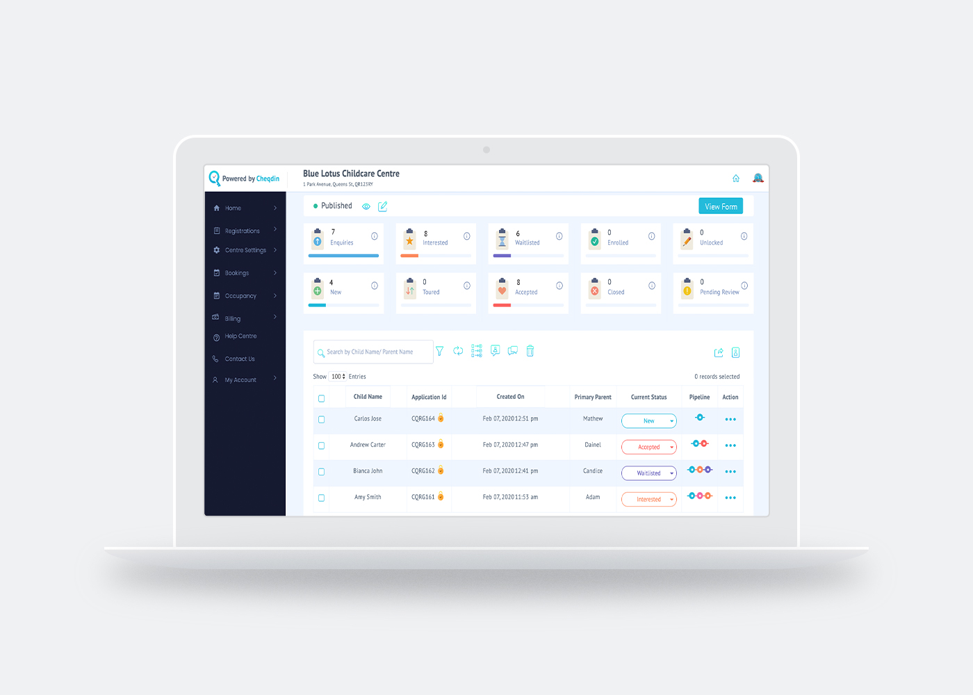 Registrations Dashboard - Share your registrations link on social media or as a button on your website. Manage all registrations and enrollments in one place.