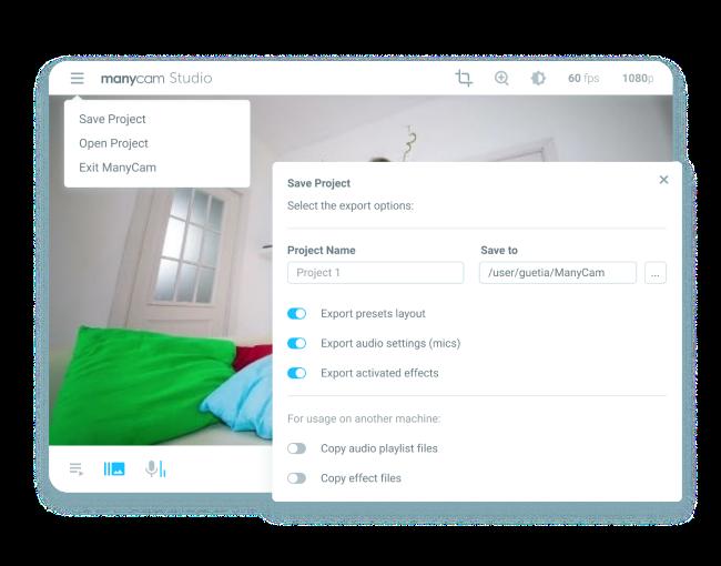 ManyCam screenshot: ManyCam save project