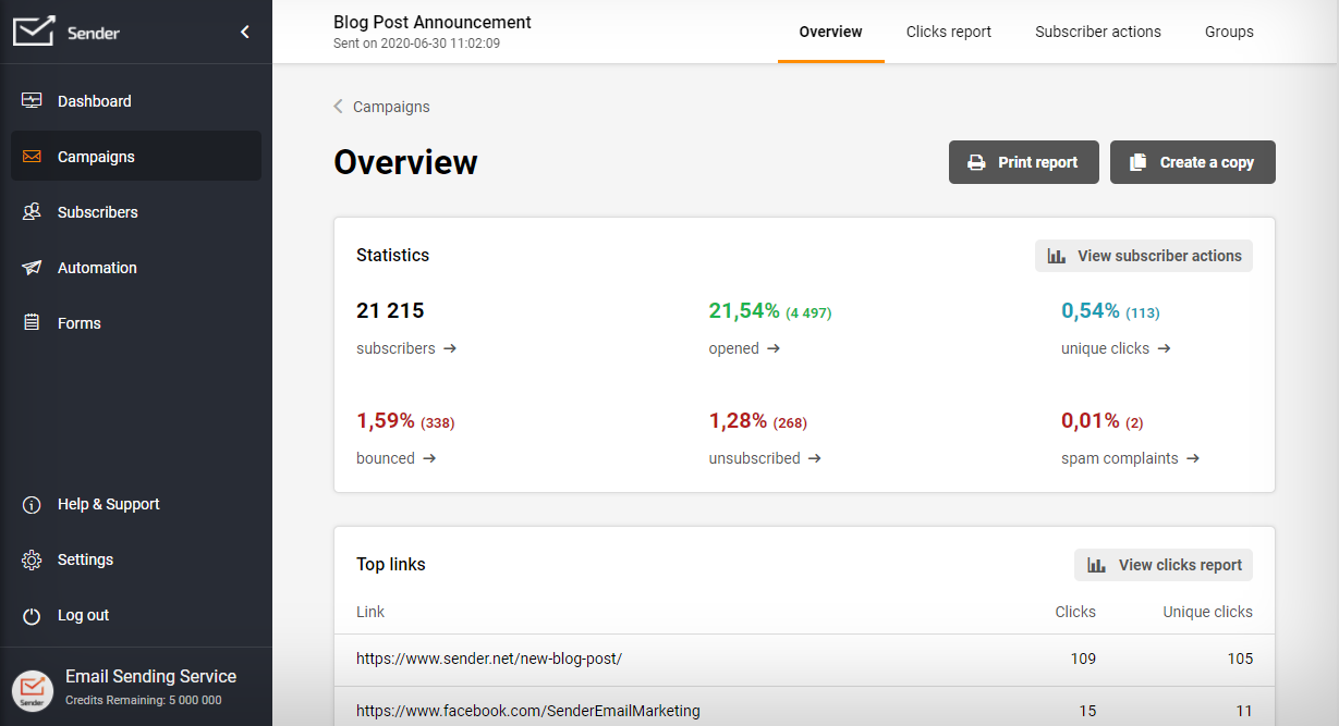 Advanced campaigns & subscribers reporting.