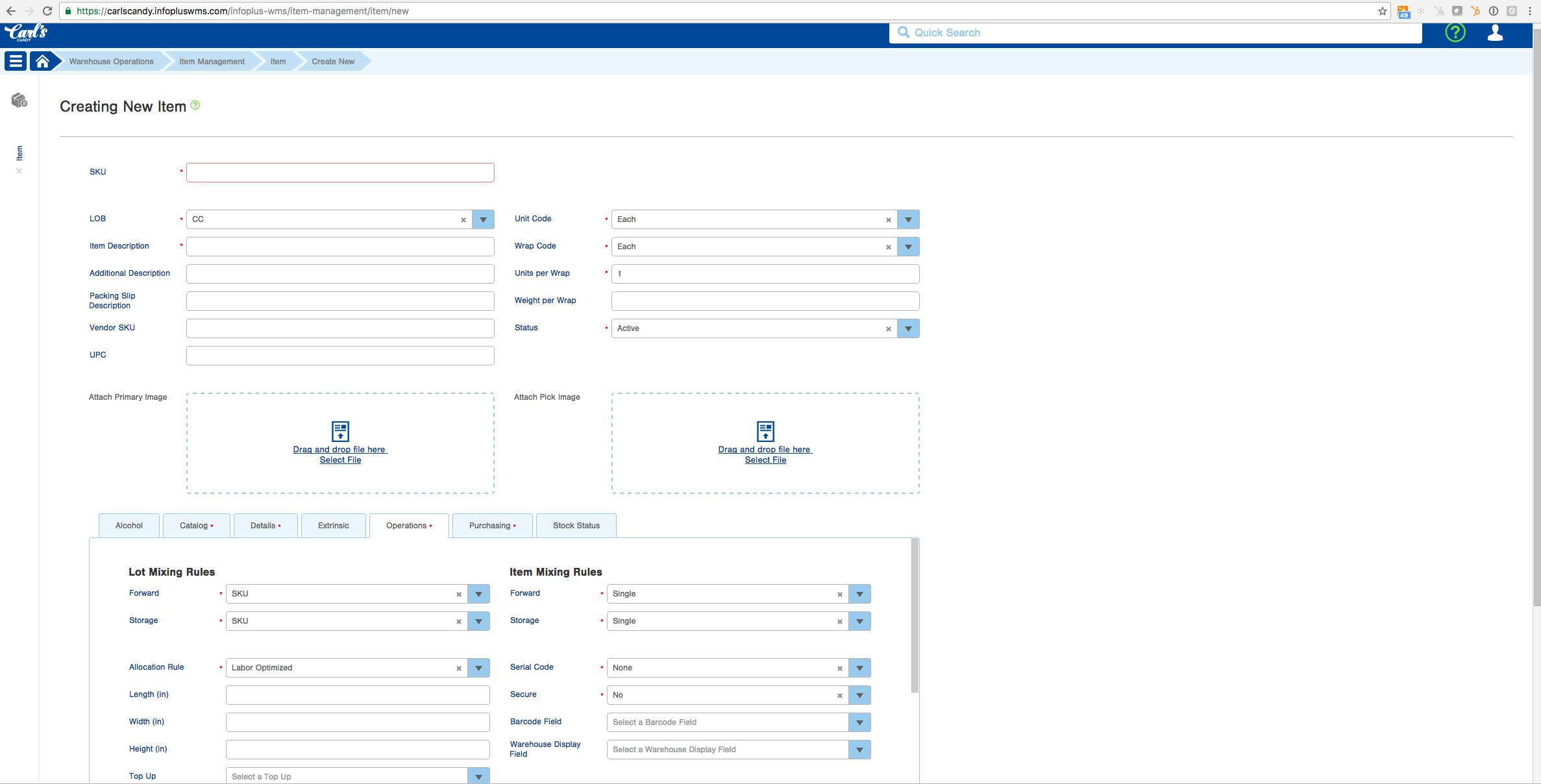 Infoplus Software - Create new items %>