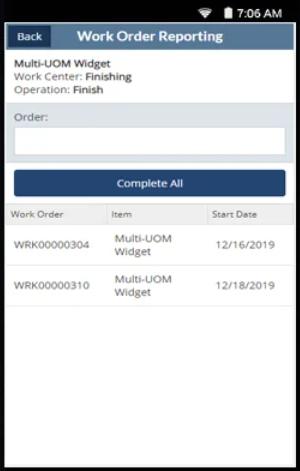 RF-SMART work order reporting