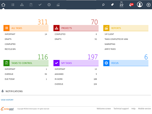 Actionspace screenshot: Stay on top of your day with an intuitive Actionspace's dashboard