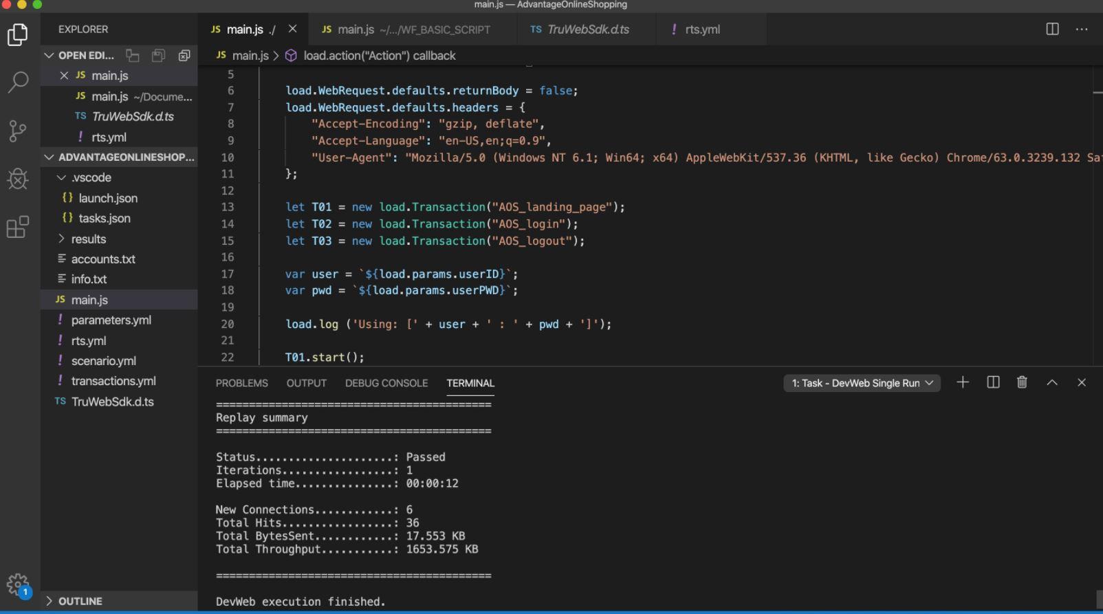 LoadRunner Cloud create web scripts