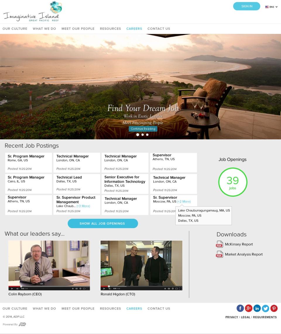 ADP Workforce Now Software - Custom career site