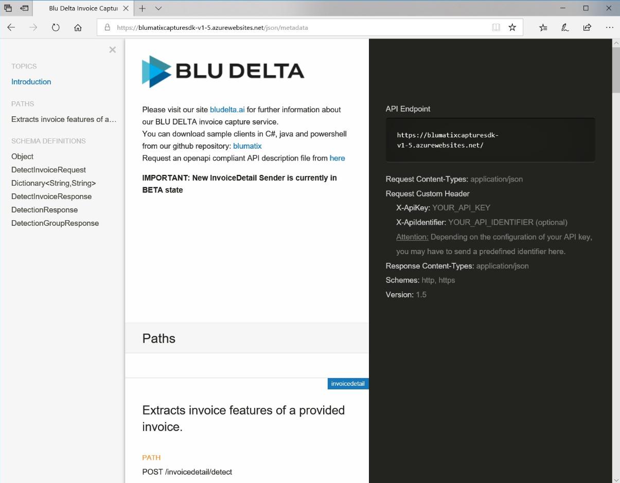 BLU DELTA API endpoint