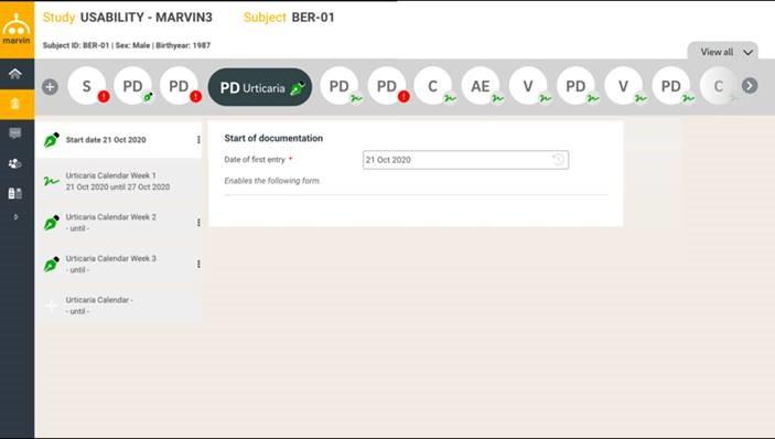 Marvin EDC screenshot: Marvin EDC study usability