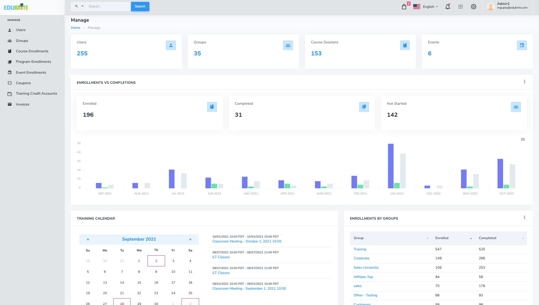 EduBrite Software - Manage Events