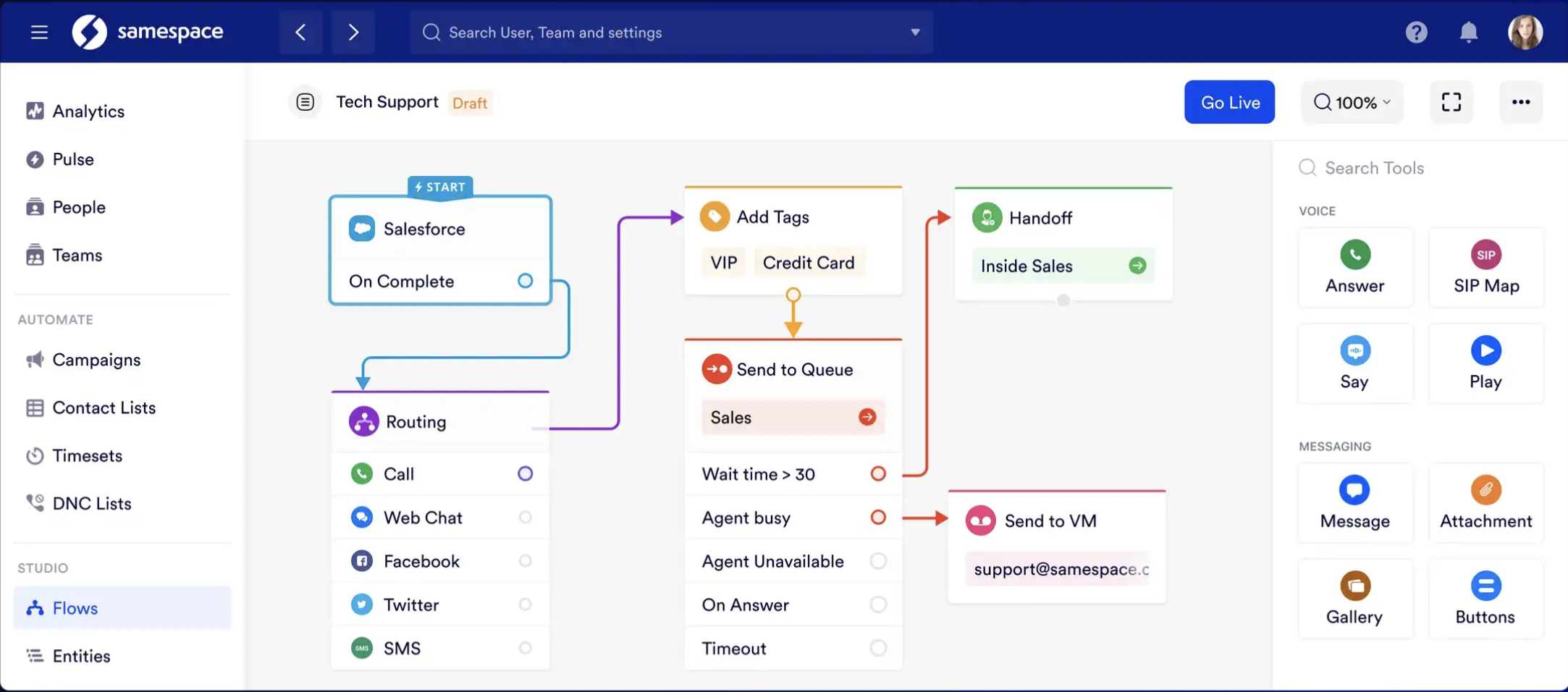 Samespace screenshot: Samespace lets you create, route, and deploy voice, chat and messaging flows in minutes. Whether for customer support or sales, simply drag and drop, no coding needed.