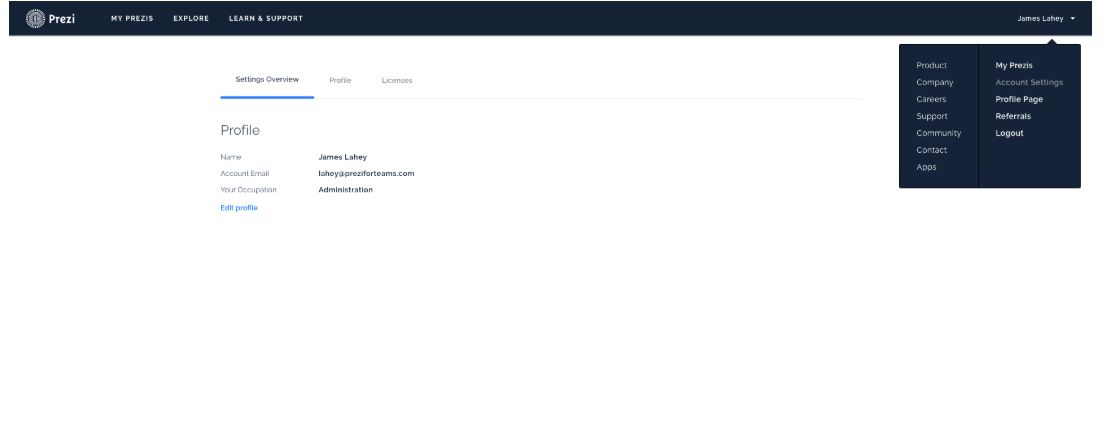 Prezi Business edit profiles