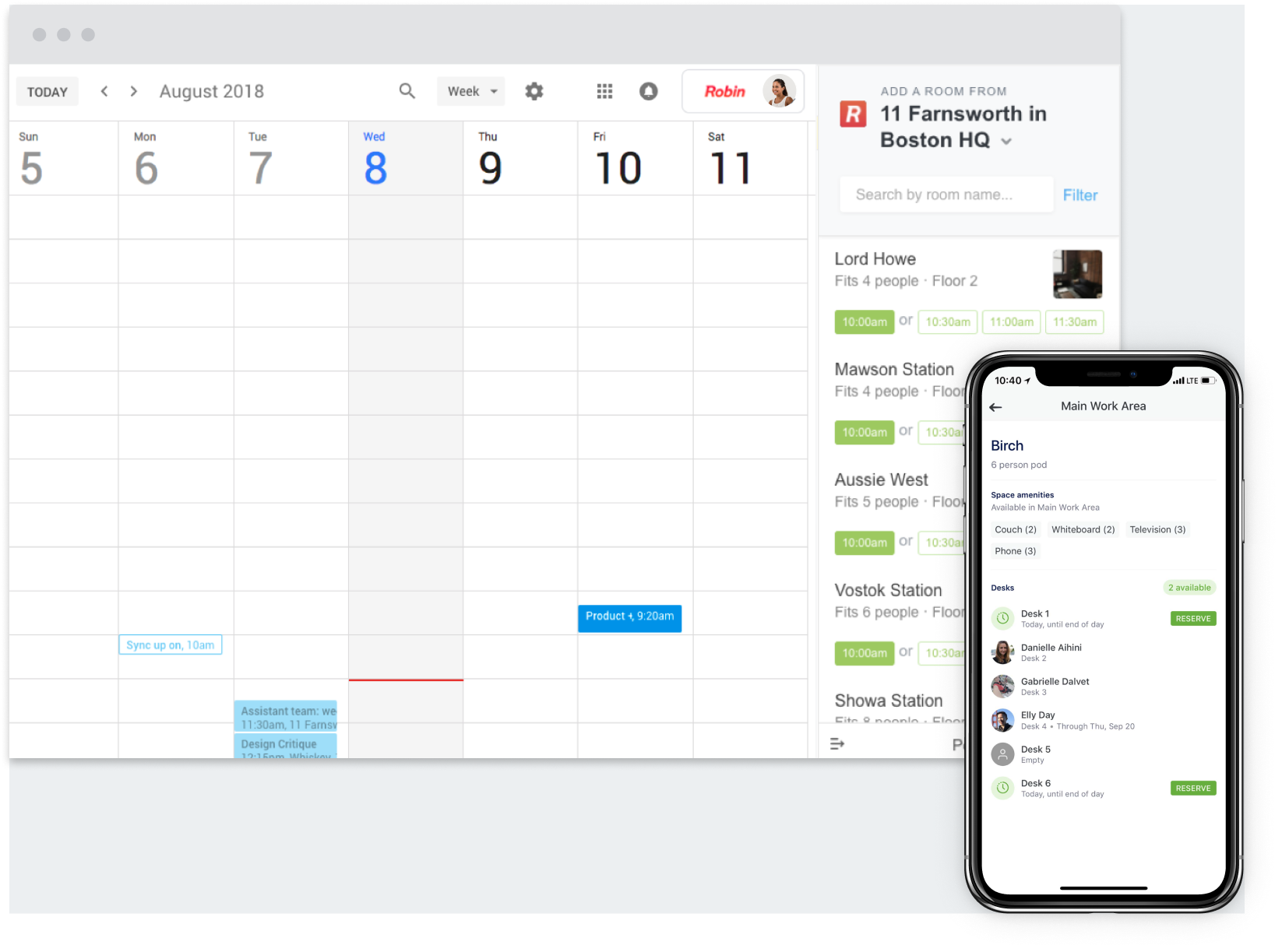Search and find the right room for the right time. Manage calendars from one place, with smart notifications and location-based reminders, via iOS and Android mobile devices.