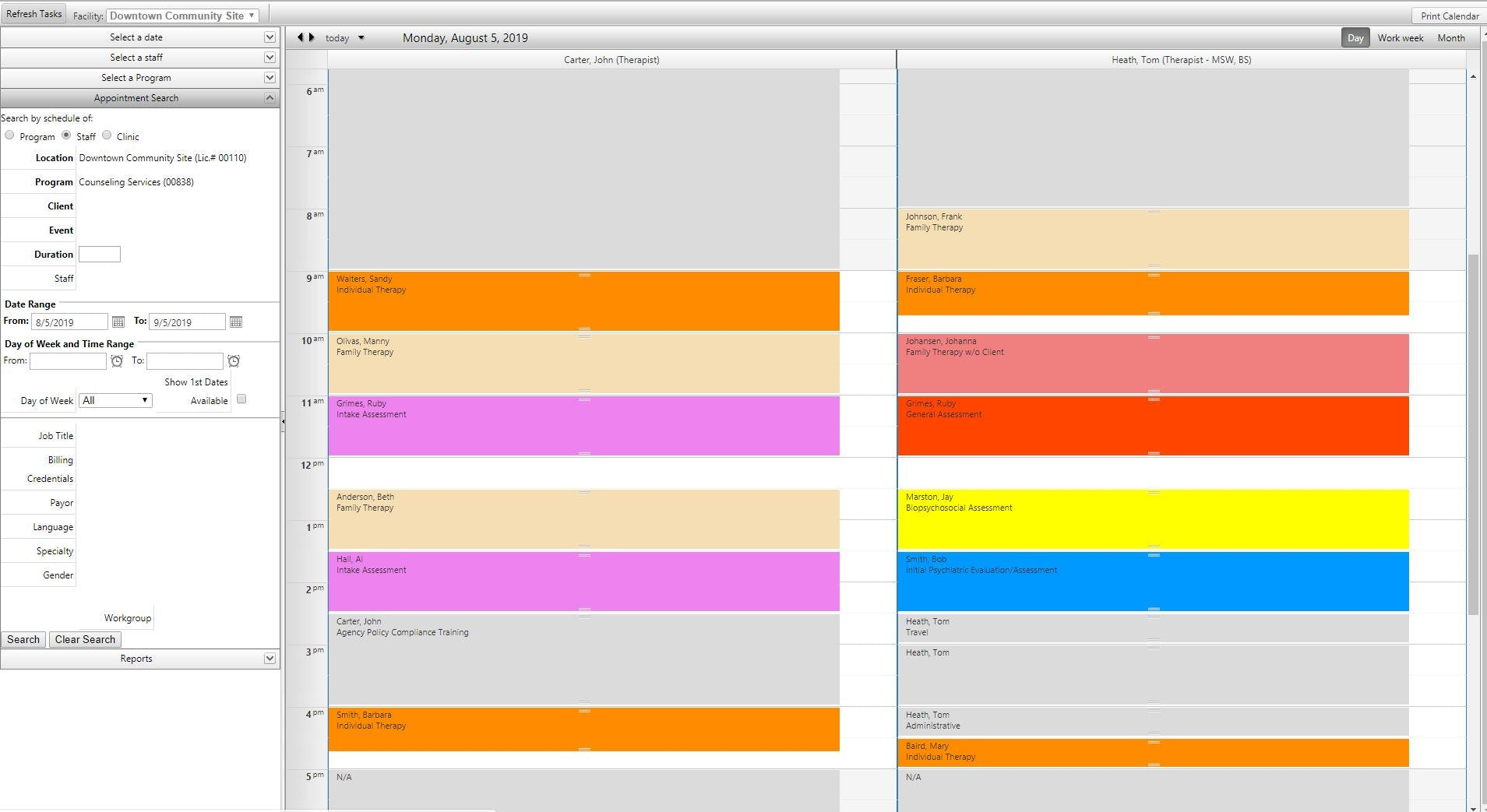 myEvolv Software - Multi-provider color-coded scheduling