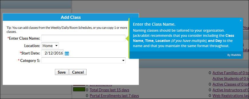 Adding class details Jackrabbit Care