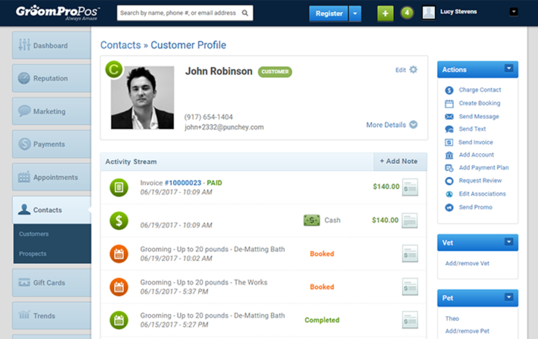 GroomPro POS client profile