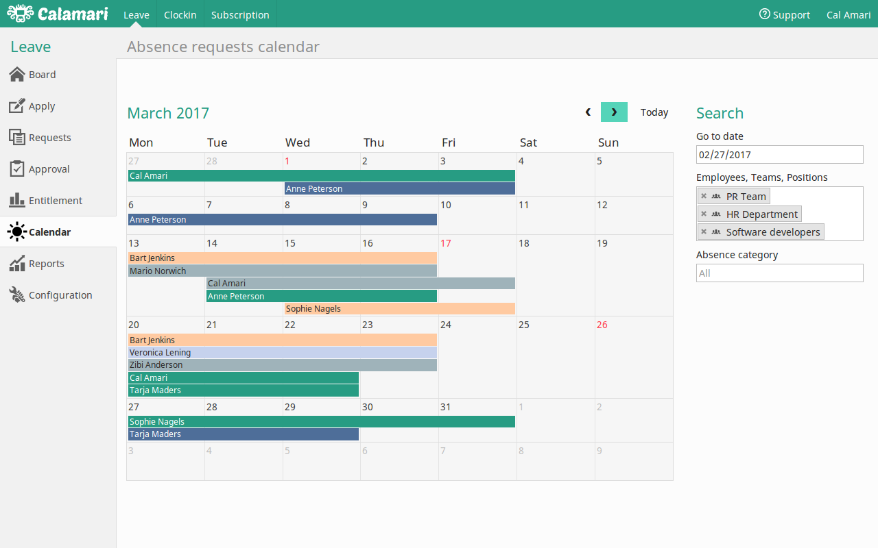 Calamari absence calendar