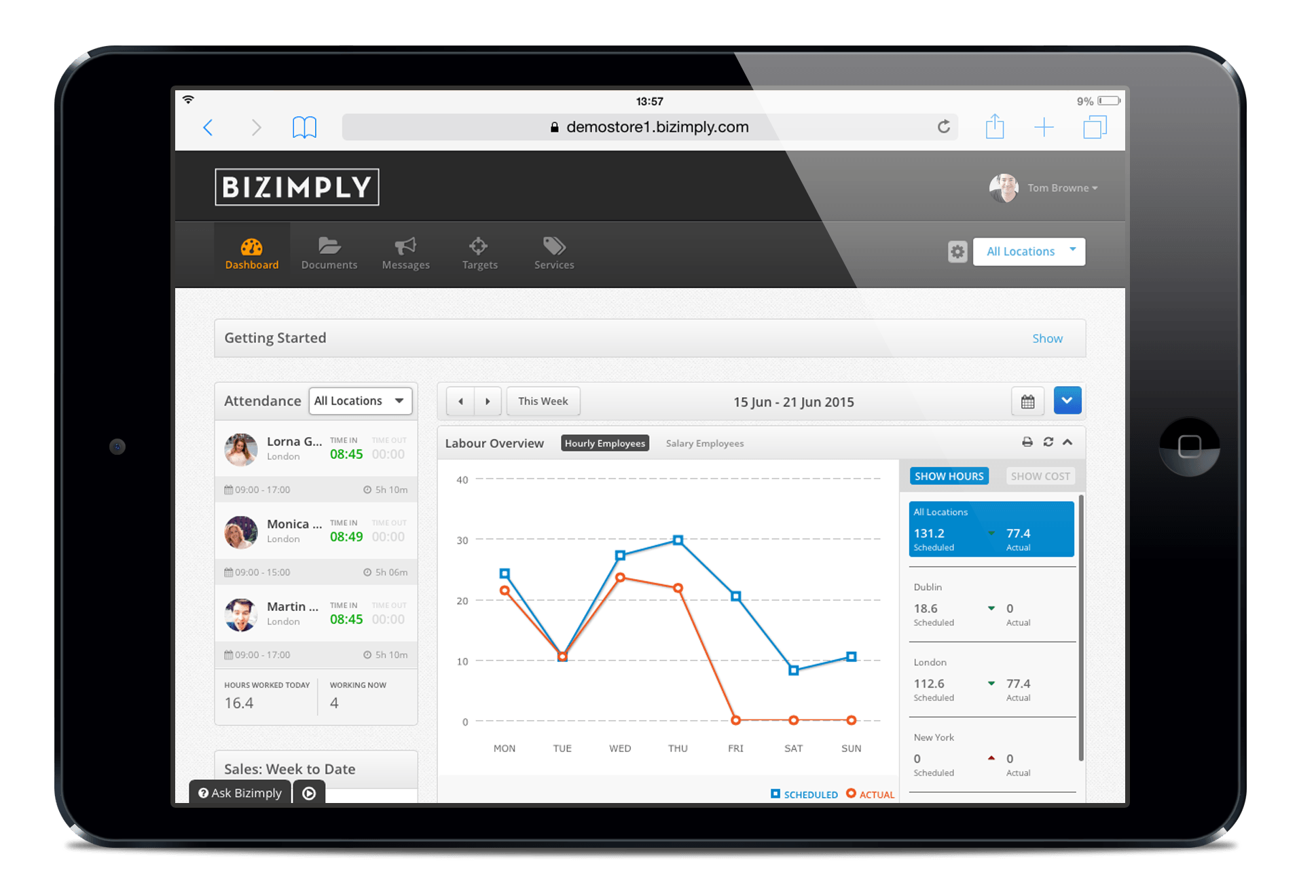 View live attendance and employee shift data by location
