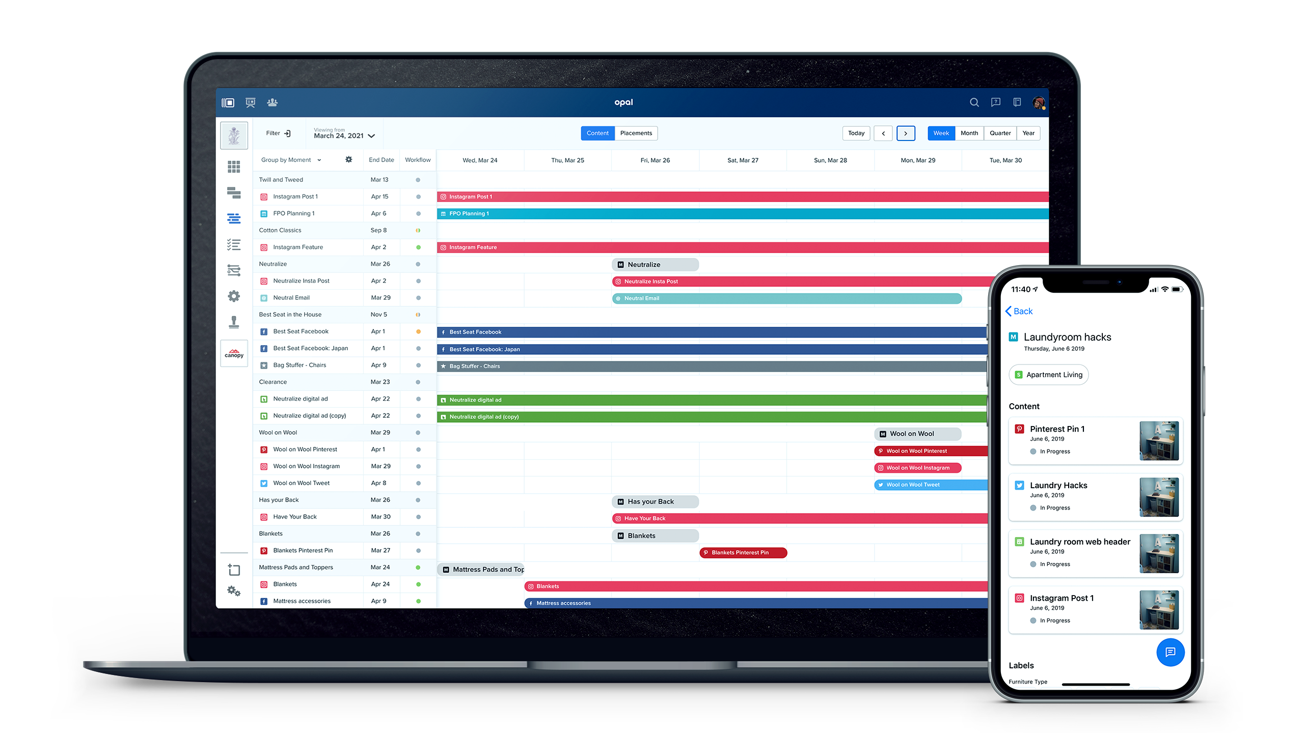 Visualize the flighting of Moments and Content across one or all campaigns and initiatives, including which channels and accounts each piece of Content is planned for.