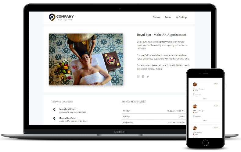 Your own 24/7 booking website. List all your services on your own branded booking website, complete with prices, photos and descriptions for instant booking and reservation.