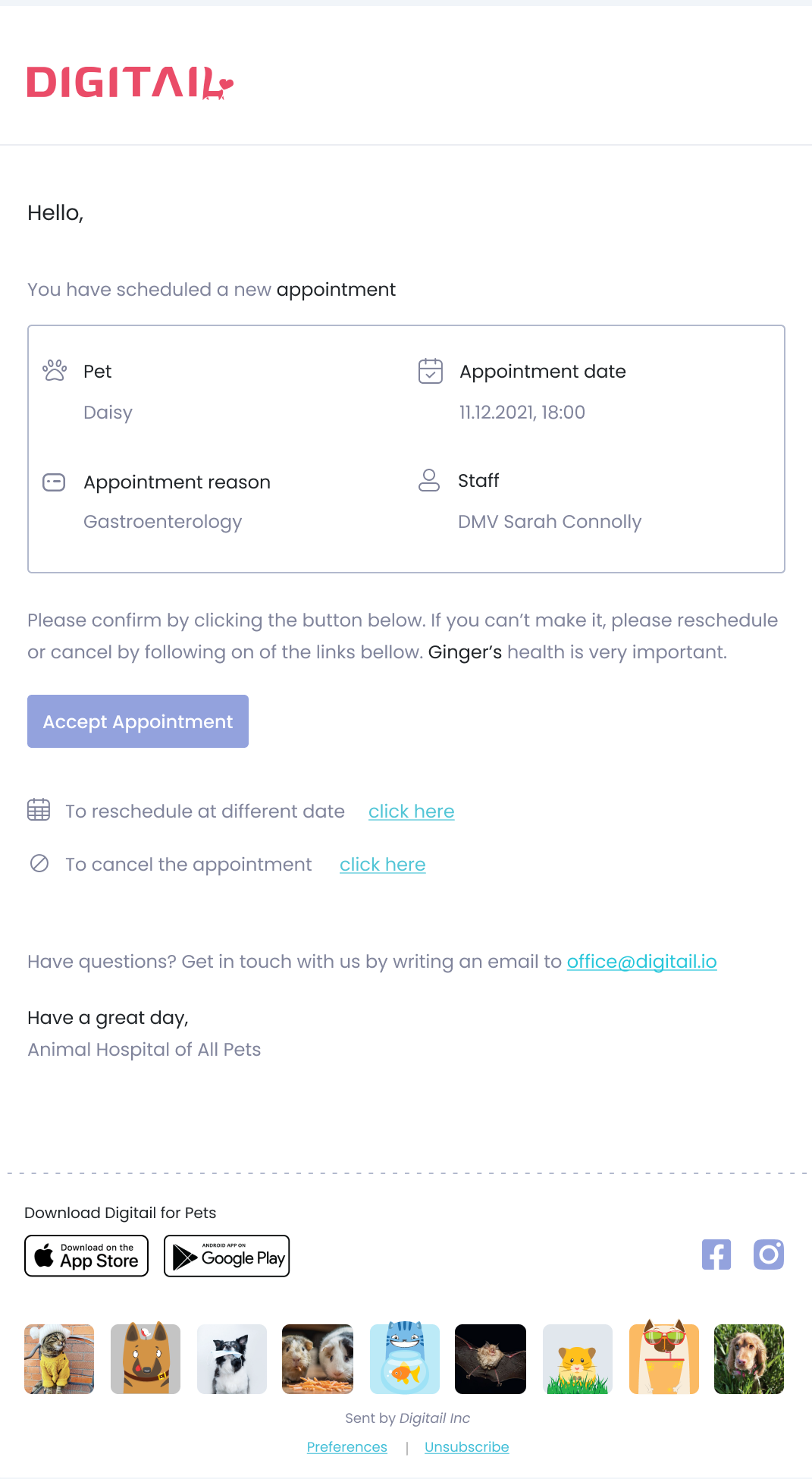 Your clients get instant notifications when you create a new appointment or when you reschedule. Define your reminders preferences by customizing when you want to send them (how much time before the due date) and on which channel (email, SMS, or in-app)