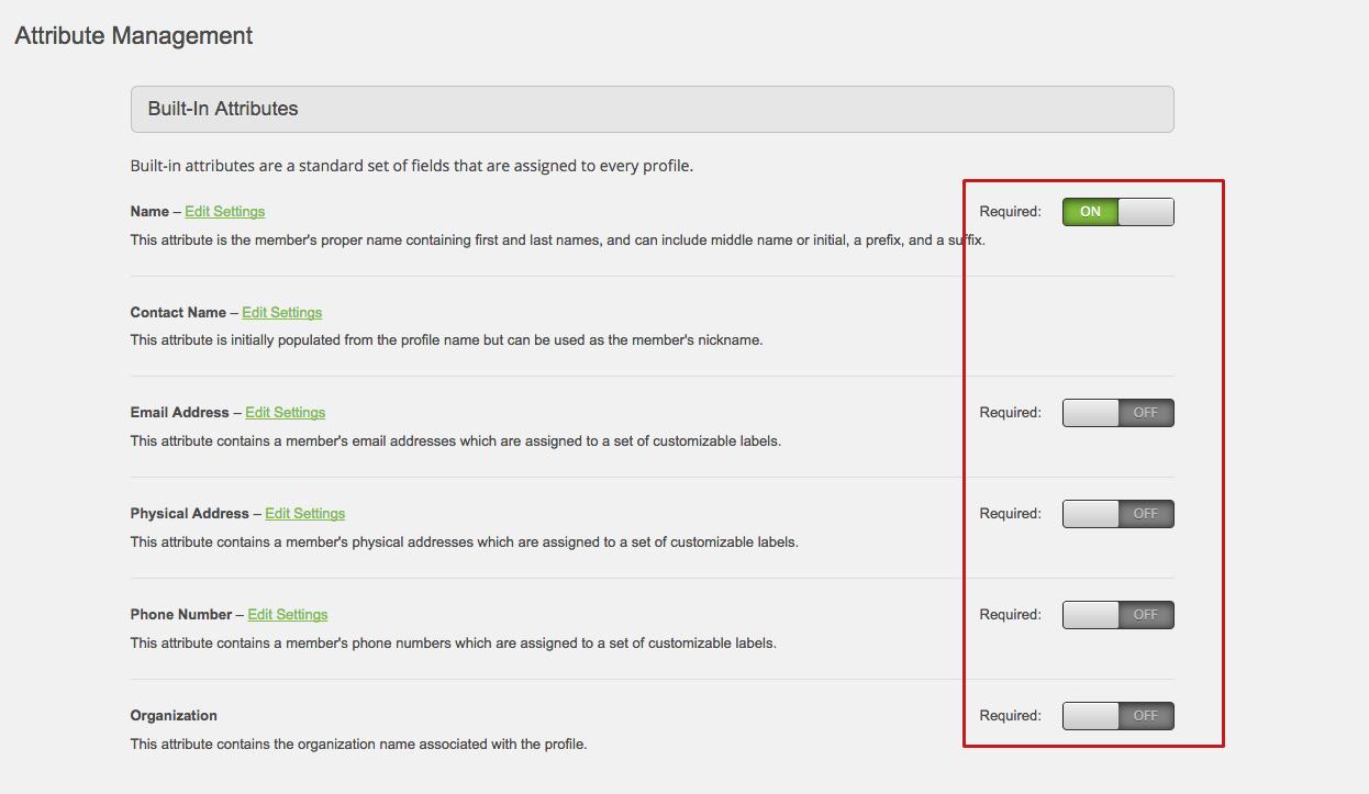 MemberClicks screenshot: Attribute Management - Memberclicks