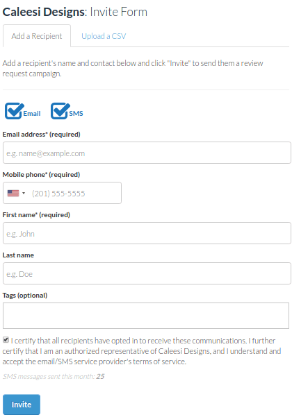 Review request form