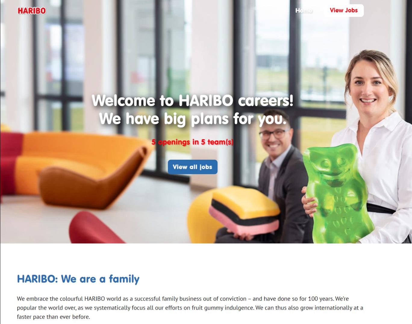 Careers site. Showing bespoke careers site created for Haribo UK.