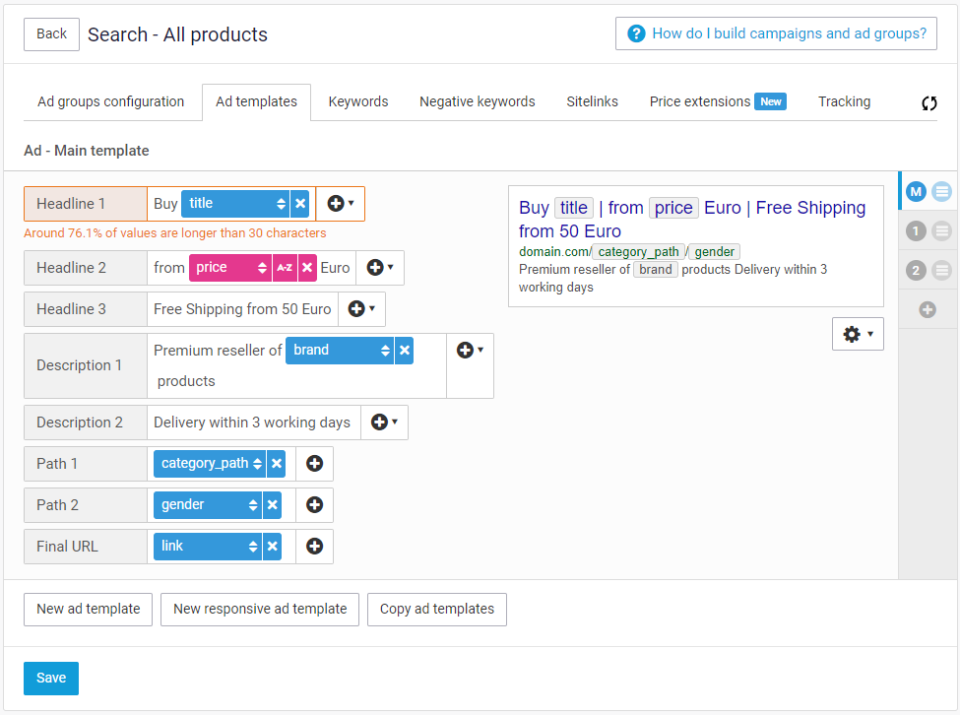 Channable screenshot: Use values from your data feed to create campaigns, ad groups, ads, keywords and ad extensions. These will be automated (paused and activated) according to your inventory and the filters you set.
