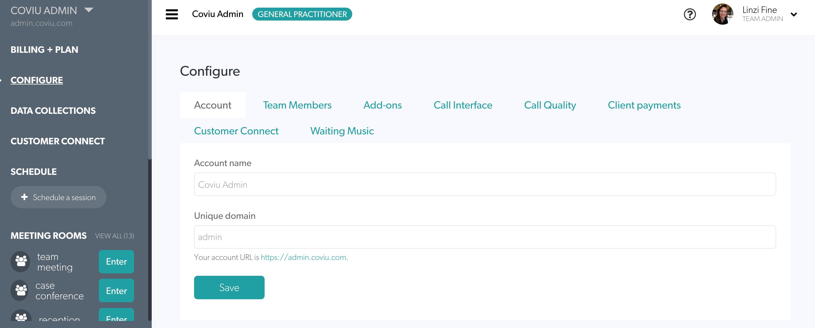 Coviu screenshot: Coviu account details configuration